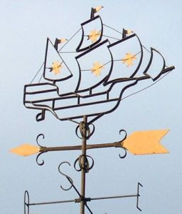 Sailing ship weather vane