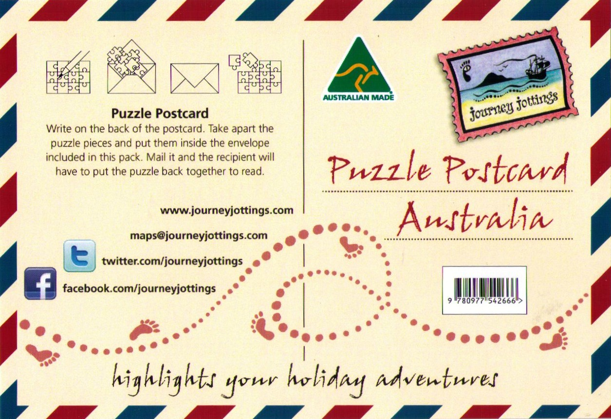 Puzzle Postcard backing card & instructions: journeyjottings.com/products/australia/puzzle-postcards