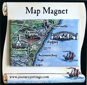 Sydney Map Magnet Australia on backing card