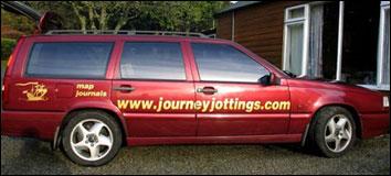 Journey Jottings' roving sandwich-board