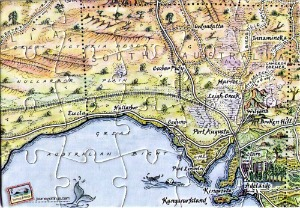 Nullarbor map postcard