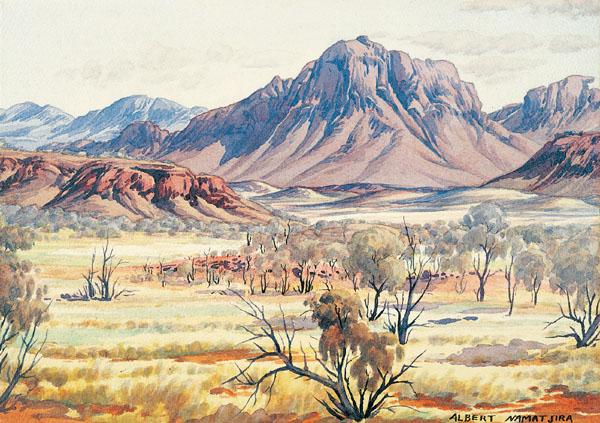 Image: Albert Namatjira painting Mt Sonder