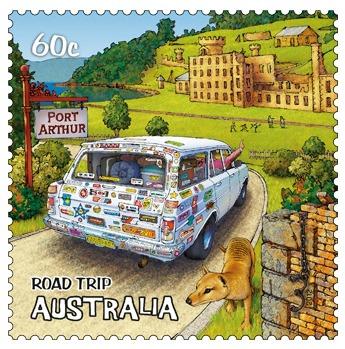 Road Trip Australia Stamp