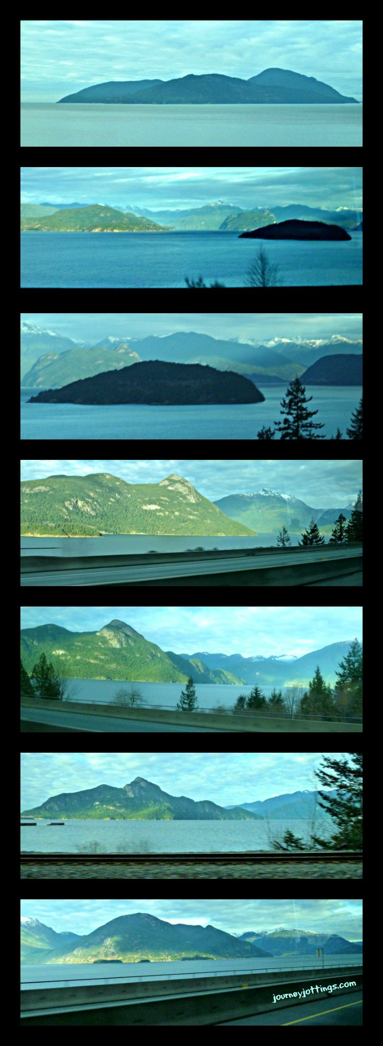 Sea to Sky Highway views from the shuttle bus window
