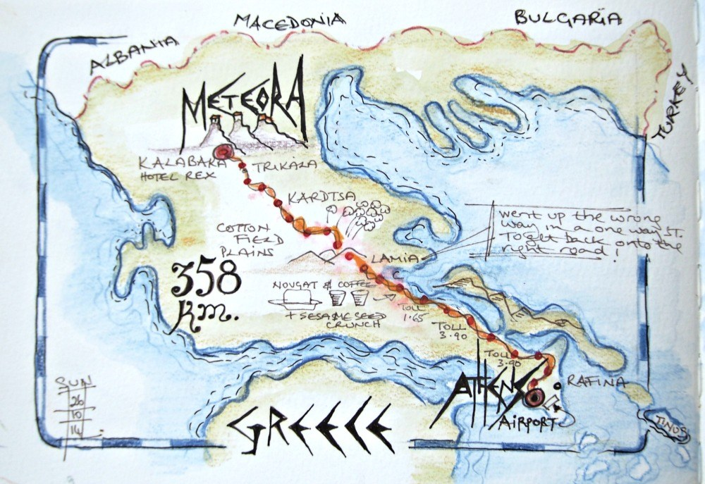 Map of Greece showing location Meteora