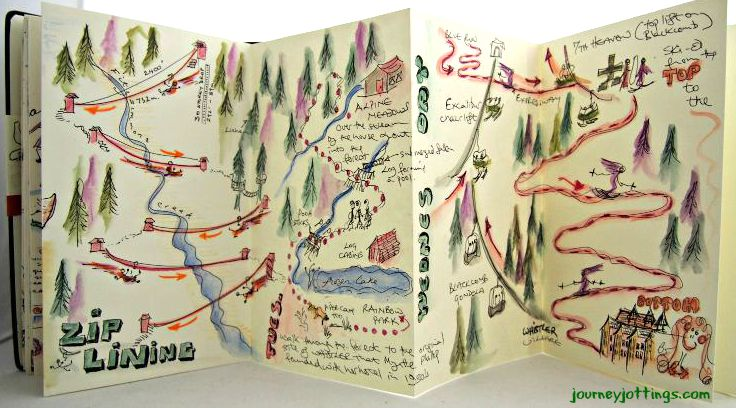 Ziplining and Skiing doodles