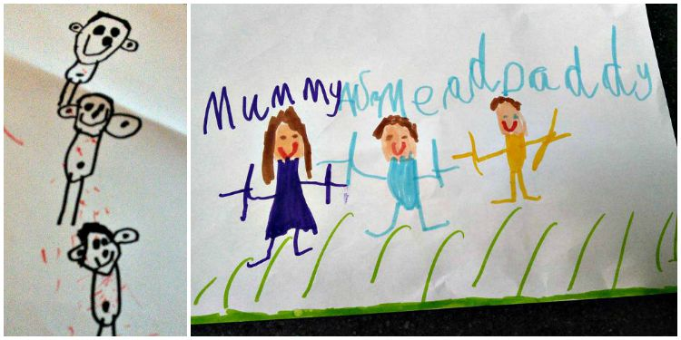 5 year drawing of his family