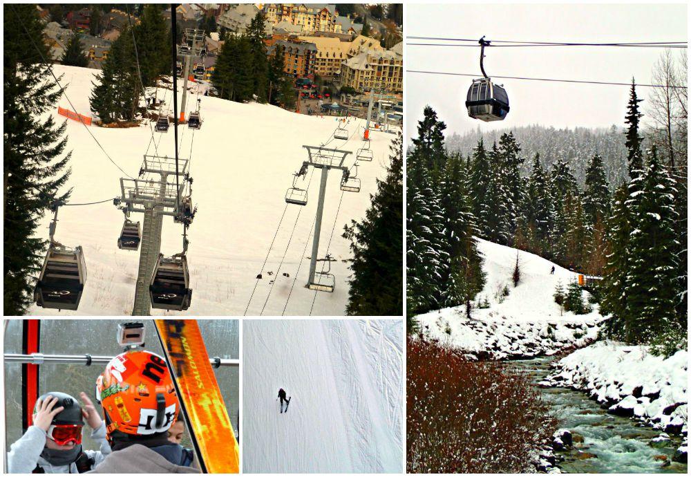 Riding the Whistler gondola up the mountain